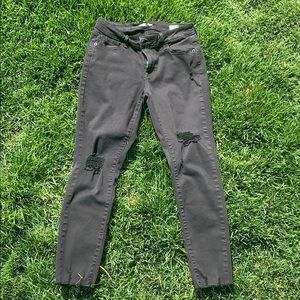 old navy ripped black mid-rise pants